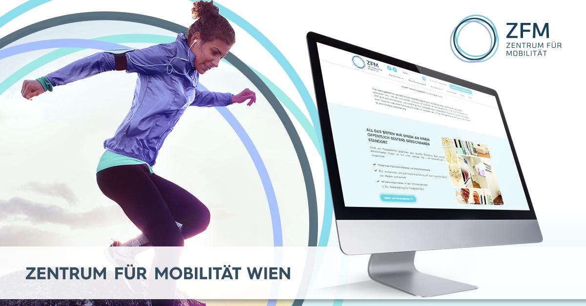 Banner des ZFM - Zentrum für Mobilität - rechts daneben ein Monitor mit der ZFM Webseite