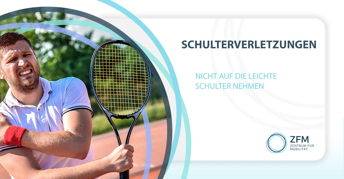 Schulterverletzungen nicht auf die leichte Schulter nehmen - links Bild von einem Tennisspieler der sich die rechte Schulter hält vor Schmerzen