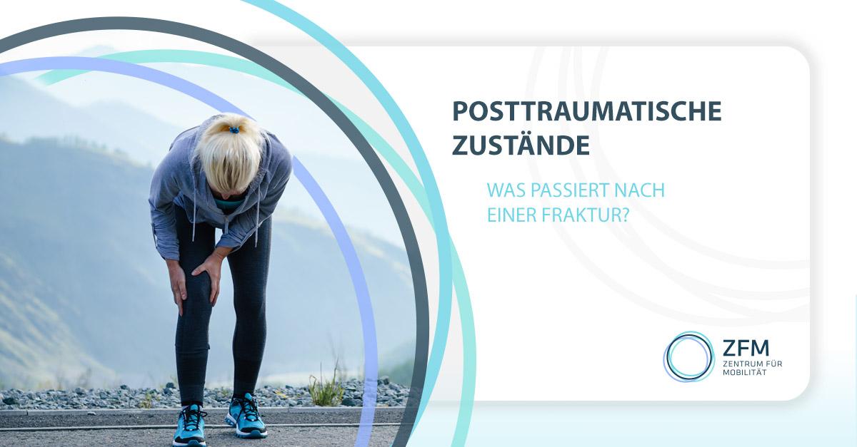 Posttraumatische Zustände - Was passiert nach einer Fraktur - Läuferin hält sich das rechte Knie vor Schmerzen