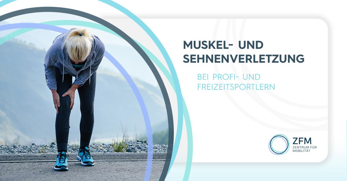 Muskel- und Sehnenverletzungen - Bei Profi- und Freizeitsportlern - Frau hält sich das rechte Knie vor Schmerzen